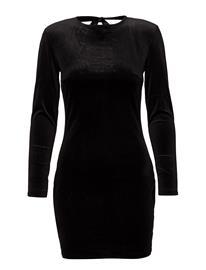 Mango Shoulder Pad Velvet Dress BLACK