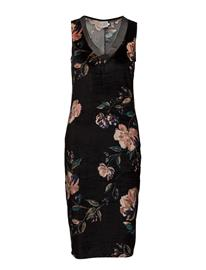 Saint Tropez Flower P. Dress W. Draped Hem BLACK