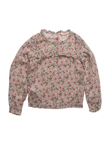 Mango Kids Floral Print Blouse LT PASTEL BROWN