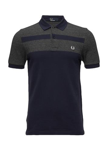 Fred Perry Panel Pique Shirt BLUE GRANITE