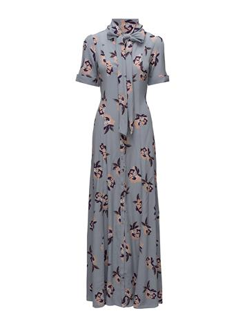 by Ti Mo Bowtie Maxi Dress PURPLE FLOWERS