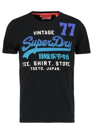Superdry SHOP 77 Printtipaita black