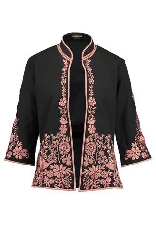 Fashion Union Tall MOSELLE EMBROIDERY Kevyt takki black