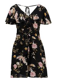 New Look FLORAL RUFFLE TEA DRESS Vapaaajan mekko black