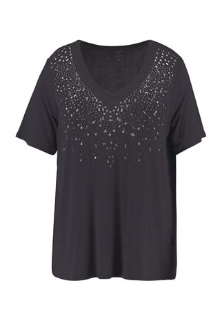 New Look Curves EMBELLISHED BLING NECKLINE Printtipaita charcoal