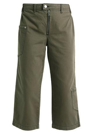 Topshop UTILITY CROP Straight leg farkut khaki