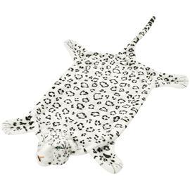 vidaXL Leopardi Matto Plyysi 139 cm Valkoinen