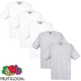 Fruit of the Loom 5 T-paita 100% Puuvilla Valkoinen ja harmaa M