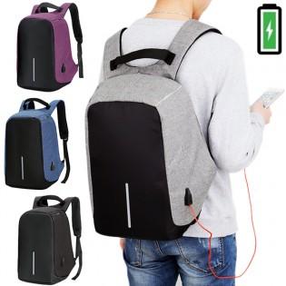 Varkauksilta suojattu reppu USB-portilla & läppäritaskulla - Violetti