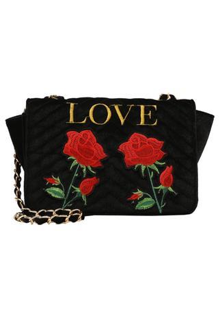 Missguided LOVE EMBROIDERED CROSS BODY BAG Olkalaukku black