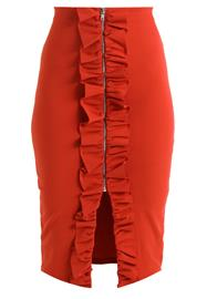 Lost Ink ZIP THROUGH RUFFLE PENCIL SKIRT Kynähame coral