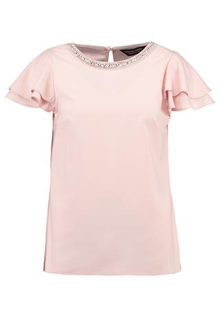 Dorothy Perkins EMBELLISHED NECK RUFFLE SOFT Pusero blush