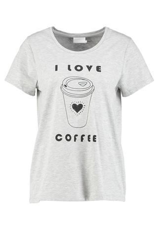 Kaffe COFFEE Printtipaita light grey melange