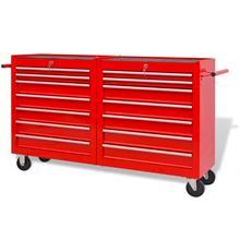 vidaXL 142351, verstaan työkalukärry 14 laatikolla koko XXL teräs punainen