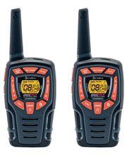 COBRA AM845 PMR radiopuhelinpari+akut(3XAA/puhelin). Vesitiivis, IPX4. Y-haaroitettu MicroUSB-latauskaapeli. Kantama jopa 10 km. VOX, toimii myös itkuhälyttimen