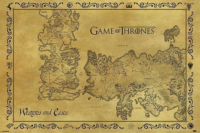 Game Of Thrones Antique Map, juliste