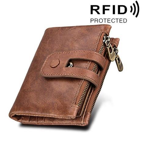RFID Lompakko aitoa nahkaa vetoketjulla