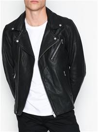 Selected Homme Shnscott Leather Biker Jacket Camp Takit Musta 88e51fbee7
