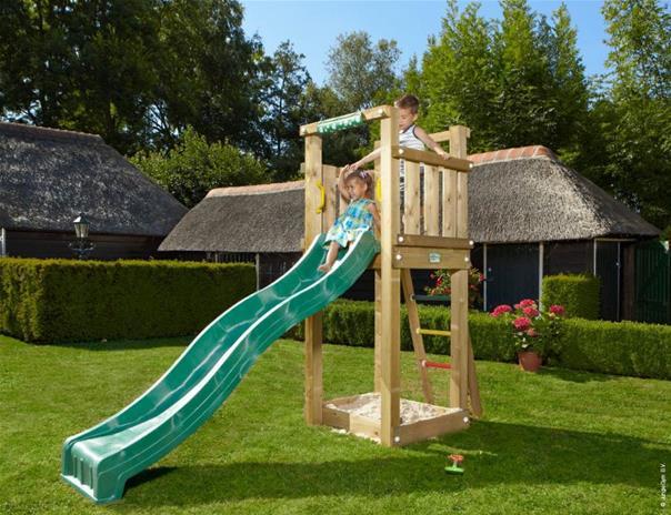 Jungle Gym Jungle Tower, leikkikeskus jossa liukumäki ja hiekkalaatikko