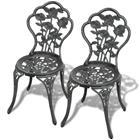 vidaXL Bistro tuolit 2 kpl Vihreä 41x49x81,5 cm Valettu alumiini