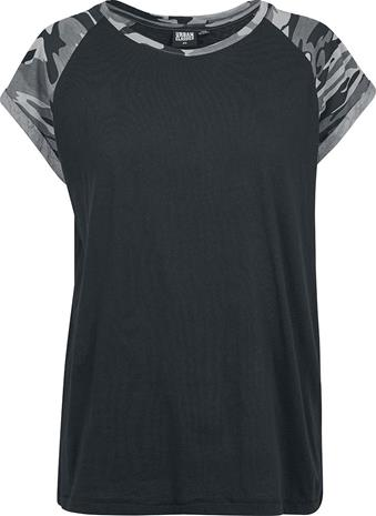 Urban Classics Ladies Contrast Raglan Tee Naisten T-paita musta/tummacamo