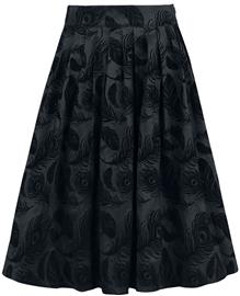 Voodoo Vixen Andrea Flocked Feather Skirt Hame musta