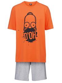 Shortsipyjama 'Homer Simpson' oranssi/meleerattu vaaleanharmaa49474/60X