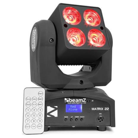 beamZ Matrix 22 quad moving head 4 x 10W CREE-RGBW-LED-valolla 9 gobolla 7 värillä DMX