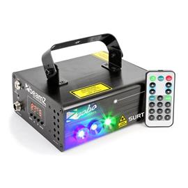 beamZ Surtur II tuplasäteilylaser RG 3W LED sininen 7-DMX 8 goboa IR-kaukosäädin