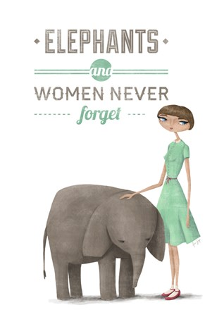 A Grape Design Elephants and women A3