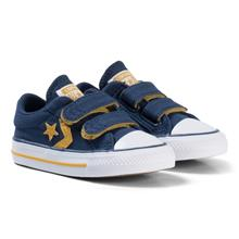 Navy and Yellow Star Player EV 2V OX Infants Trainers25 (UK 9)