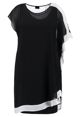 Live Unlimited London CAPE DRESS WITH CONTRAST BOARDER Vapaaajan mekko black