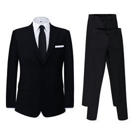vidaXL Miesten puku 2 osaa + ylimääräiset housut Musta Koko 56