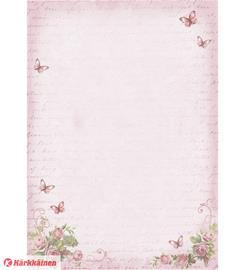 Ruusut ja perhoset pinkki A4-designkartonki