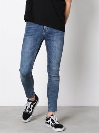 New Look Zak Raw Hem Crop s Skinny Farkut Blue