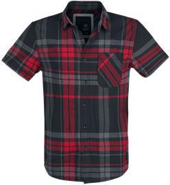 Brandit Mike Checkshirt Worker-paita musta/antrasiitti/punainen
