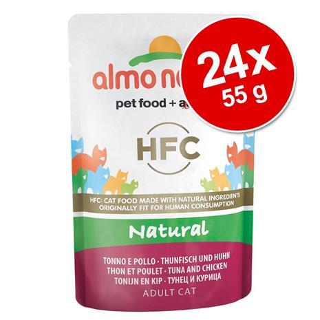 Almo Nature HFC Pouch -säästöpakkaus: 24 x 55 g - kana & sardellinpoikaset