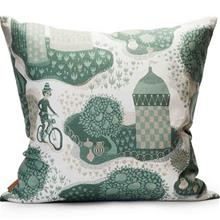 Decoration cushion 50x50cm Jardin de la vie whiteblue