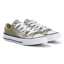 Gold Glitter Rubber Chuck Taylor All Star OX Junior Trainers35 (UK 3)