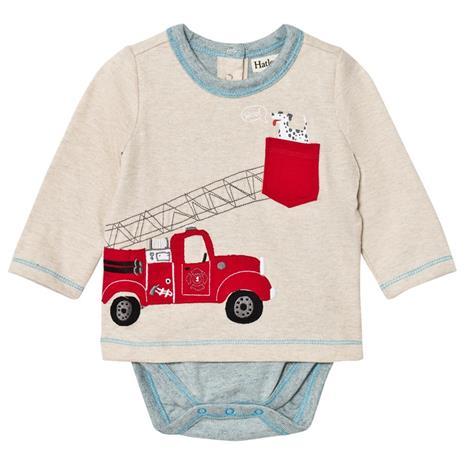 Beige Fire Truck Applique Tee Body3-6 months
