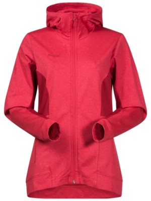 Bergans Lom Fleece Hooded Outdoor Jacket strawberry / red Naiset