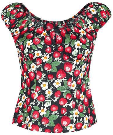 Hell Bunny Strawberry Sundae Top Naisten T-paita musta