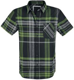 Brandit Mike Checkshirt Worker-paita musta-harmaa-vihreä