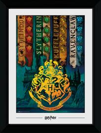 Framed collectors print (50x70 cm) - Harry Potter - House Flags - Merchandise