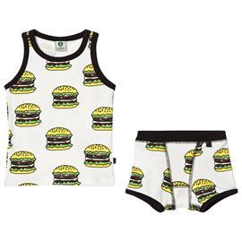 Cream Multi Burgers Print Top and Underwear Set2-3 V