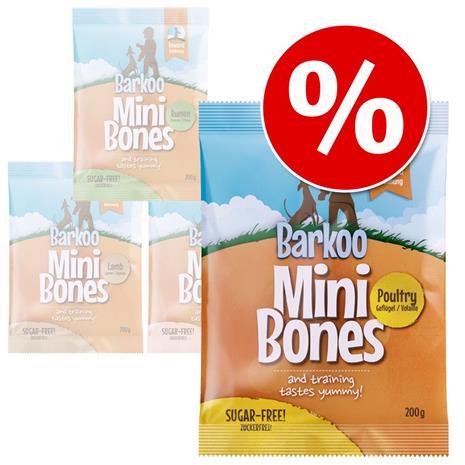 Säästöpakkaus: Barkoo Mini Bones 4 tai 8 x 200 g - siipikarja 4 x 200 g