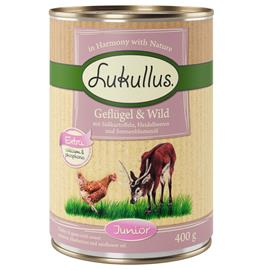 Lukullus Junior: siipikarja & peura (viljaton) - 6 x 800 g