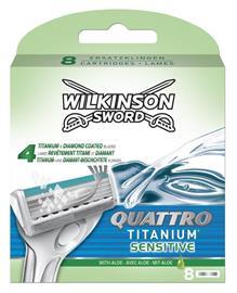 Wilkinson Sword Quattro Titanium Sensitive Partahöylän Terät 8-pakkaus