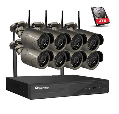Techage 720p seurantajärjestelmä 8 Langaton IP-kamerakamera Wi-Fi NVR Kit
