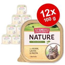 Schmusy Nature Balance -säästöpakkaus 12 x 100 g - naudanliha, siipikarja, riisi & granaattiomena